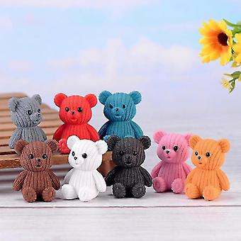 Figurines cute plastic teddy bear miniature party accessories animal garden figurines