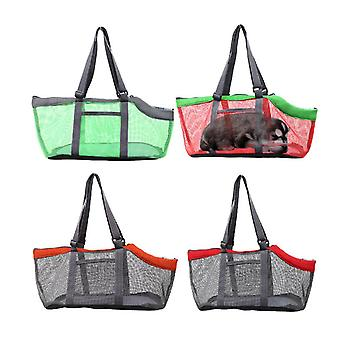 Red gray breathable pet handbag panorama cat carrier net bag foldable zf1276