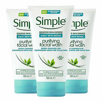 3pk x 150ml Simple Daily Skin Detox Purifiant le lavage du visage