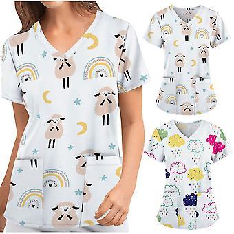 Sygeplejerske Uniform, Kvinder Kortærmet V-hals Cartoon Pattern Toppe