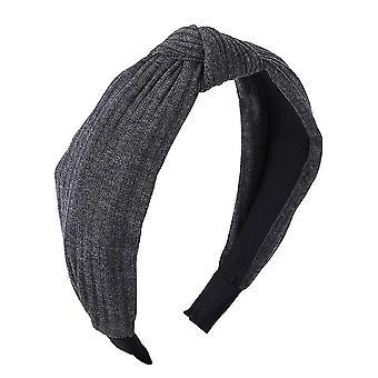 Egyszínű szatén csomózott hajpánt(Sötétszürke)