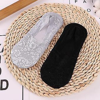 2 Parit naisten tytöt kesä pitsi sukat (Harmaa Musta)
