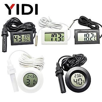 مصغرة LCD الرقمية مقياس الحرارة مقياس اختبار اختبار حاضنة حوض السمك درجة الحرارة الرطوبة متر الاستشعار كاشف