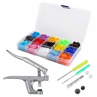15 Colors Snap Set Plastic Snap Fastener Button Kit Snap Plier Tool Diy Craft Clasp Kit