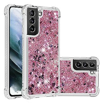 Boîtier pour Samsung Galaxy S21 Plus Bumper Cover Sparkly Glitter Bling Flowing Liquid - Rose Clair