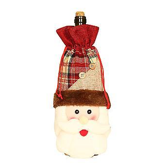 Mile 2pcs Christmas Wine Bottle Cover Bags Xmas Snowman Deer Pattern Bottle Wrap Party Festival Decors