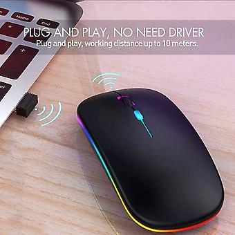 LED vezeték nélküli egér, újratölthető vezeték nélküli zajtalan,3 Dpi szint,2,4 g hordozható USB egér (fekete)
