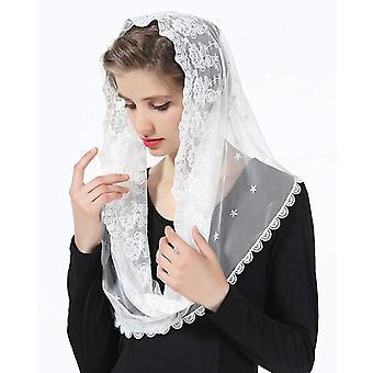 Tête florale de voiles de dentelle couvrant la masse latine Mantilla Voiles écharpe courte pour les femmes mariées
