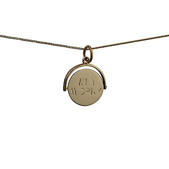 9ct Gold 15x16mm round Why Worry spinning disc Pendant with a curb Chain 20 inches