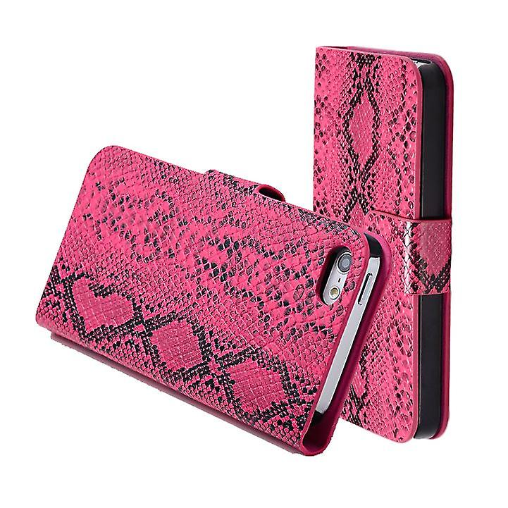 Snake Skin wallet case cover for Apple iPhone 5 5S SE + stylus - Hot Pink