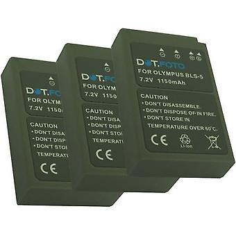 3 x Dot.Foto Olympus BLS-5, BLS-50 erstatningsbatteri - 7,2 v / 1150mAh