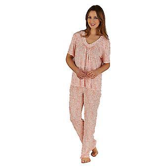 Slenderella rosa Tier Druck Jersey Kurzarm Pyjama Set PJ5138