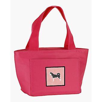 Carolines Schätze BB3680PK-8808 Siberian Husky Schachbrett Pink Lunch-Bag