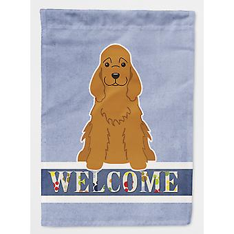 Carolines Treasures  BB5676CHF Cocker Spaniel Red Welcome Flag Canvas House Size