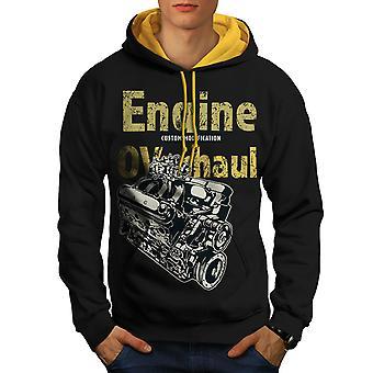 Car Mechanic Cool Vintage Men Black (Gold Hood)Contrast Hoodie | Wellcoda