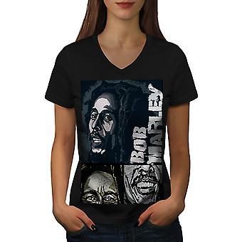 Marley Bob Jamaican Women BlackV-Neck T-shirt | Wellcoda