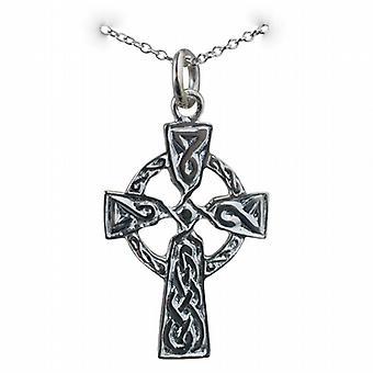 Zilveren 26x19mm reliëf knoop design Keltisch kruis met een rolo ketting 24 inch