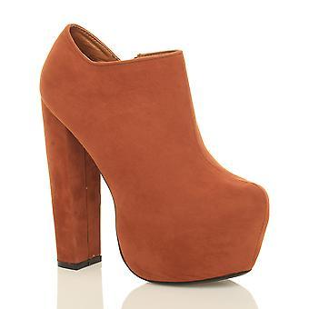 Ajvani Womens blockieren high-Heel verborgen Plattform Zip klobige Knöchel Stiefel Stiefeletten