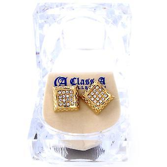 Iced out bling øreringe box - rektangel guld