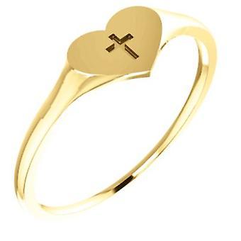 14k or jaune pour garçons ou filles coeur avec anneau de Cross -.5 grammes - taille 6