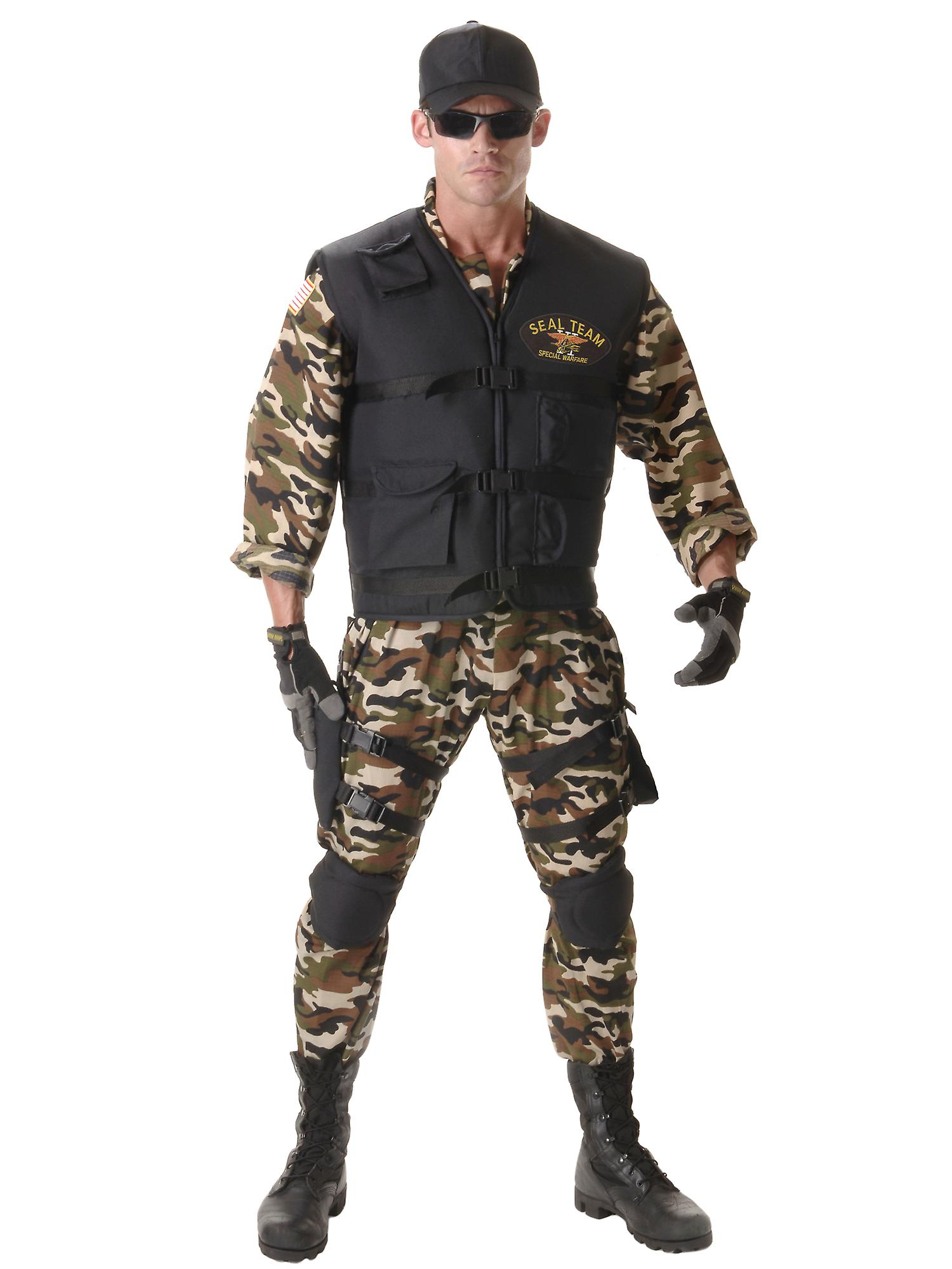 Seal Team Deluxe Military Army Soldier Police Combat Uniform Mens Costume