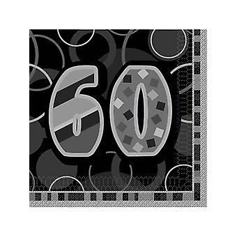 Fødselsdag Glitz sort & sølv 60 års fødselsdag - frokost servietter
