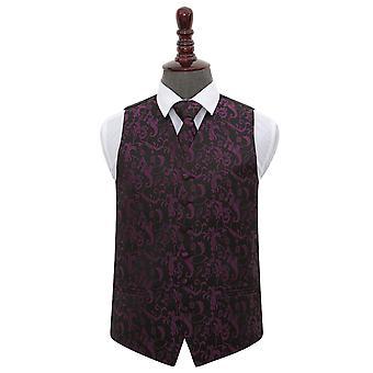 Black & Purple Floral Wedding Waistcoat & Tie Set