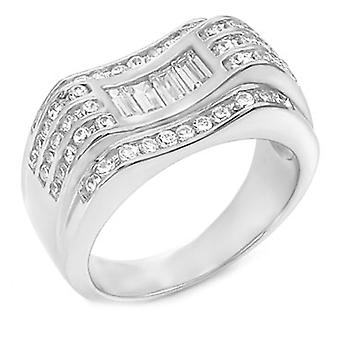 Sterling 925 Silver pave ring - SWING