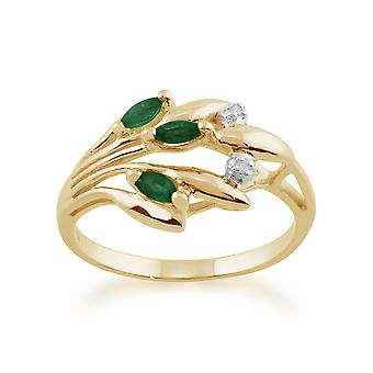 9ct Yellow Gold 0.17ct Natural Emerald & Diamond Floral Ring