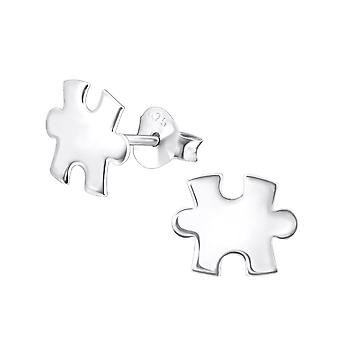 Jigsaw - 925 Sterling Silver Plain Ear Studs - W23389x