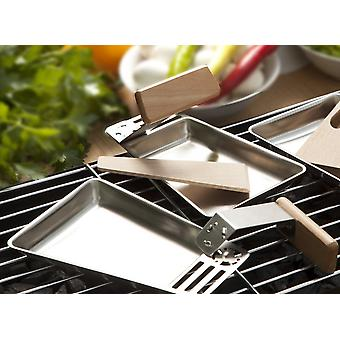 4 set Grill Pans stainless steel raclette Pan wooden handle wooden scraper