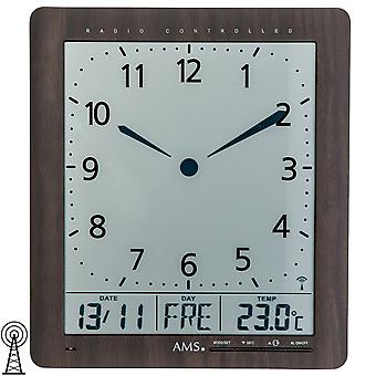 AMS 5893 wall clock radio display of time, date, day of week,