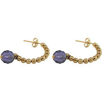 Viola blu - ladies placcato oro 3cm - orecchini - ciclo-