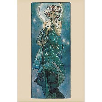 Alfons Mucha Poster Moon