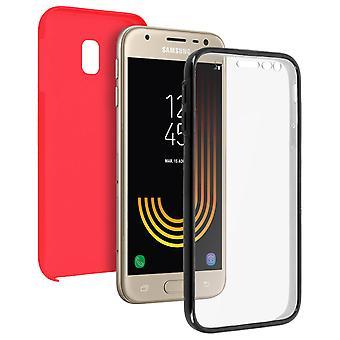 Custodia in silicone + cover posteriore in policarbonato per il Samsung Galaxy J3 2017 - rosso