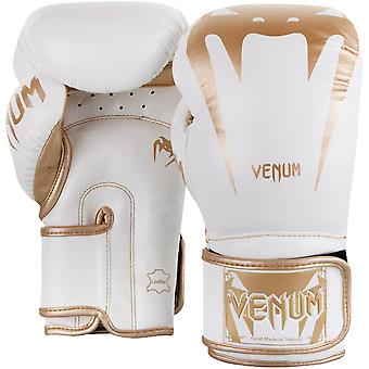 Venum Giant 3.0 Nappa Leather Hook and Loop Training Boxing Gloves - White/Gold