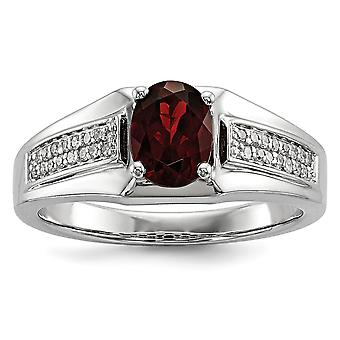925 Sterling Silver Polished Prong set Gift Boxed Rhodium plated Garnet and Diamond Mens Ring Jewelry Gifts for Men - Ri