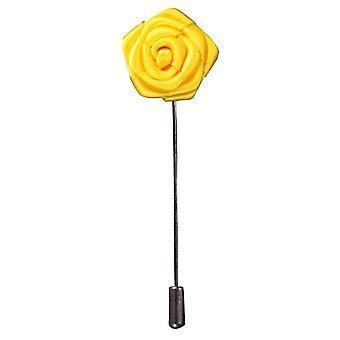 Bassin och brun ros blomma Lapel Pin - gul