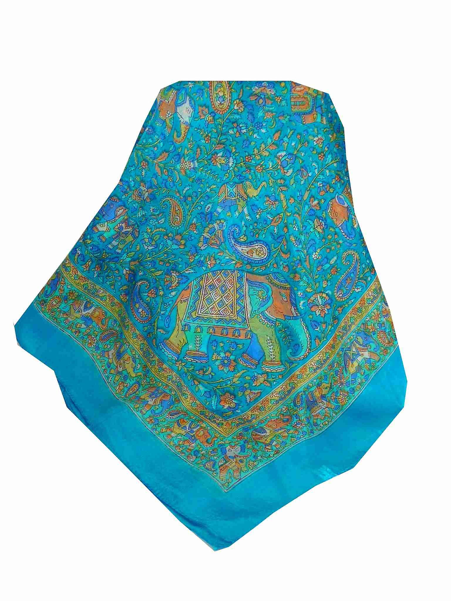 Mulberry Silk Traditional Square Scarf Kuhu Light Blue by Pashmina & Silk
