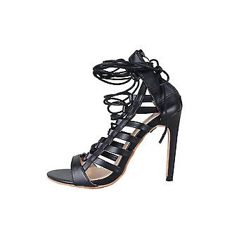 LMS Black Faux Leather Lace Up The Leg High Heel Sandal