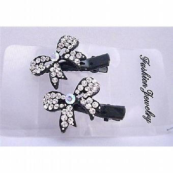 Beautiful Bow Hair Clamp Clip Encrusted w/ Cubic Zircon Sparkling Clip