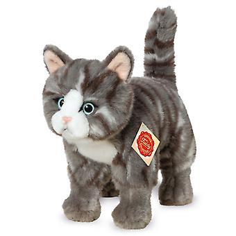 Hermann Teddy katten grå står 20 cm