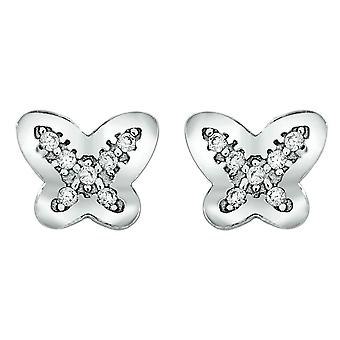 Bella Butterfly Cubic Zirconia Stud Earrings - Silver