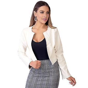 KRISP Women Ladies PU Leather Cropped Jacket Open Blazer Long Sleeve Bolero Shrug Coat