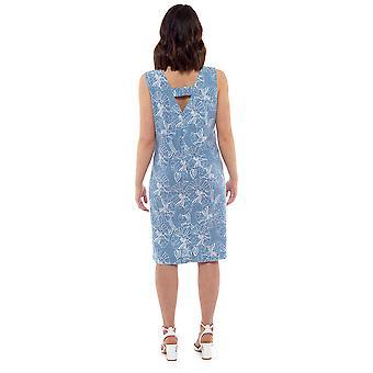Womens Floral Print Linen Rich V-Neck Shift Dress