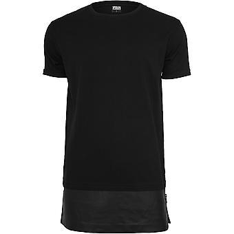 Urban Classics mænds T-shirt lang lynlås læder imiteret bund