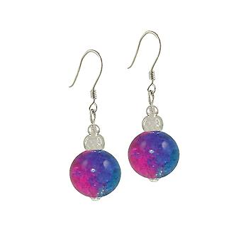 Eternal Collection Dominica Blue And Fuchsia Crackle Bead Silver Tone Drop Pierced Earrings