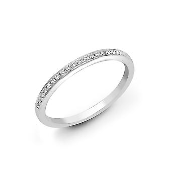 Jewelco London damer solid 18ct hvid guld pave sæt runde G SI1 0.1 CT diamant dainty band evigheden ring 1.5 mm