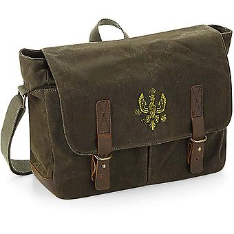 14ème 20ème Kings Hussars - Licensed British Army Embroidered Waxed Canvas Messenger Bag