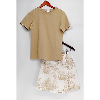 Denim & co. set stretch T-skjorte & stretch Classic trykt Skort beige A10855